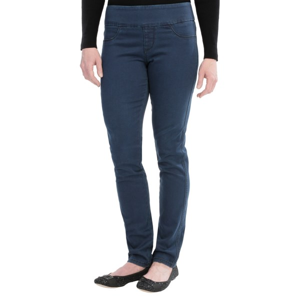 CLOSEOUTS . Once women find out they can have their denims without bulky zips and pockets, they may never go back. Christopher Blueand#39;s Lilliana jeans are fashioned in an easy pull-on style with pencil-thin legs and a decidedly urban overcast wash. Available Colors: INDIGO. Sizes: 2, 4, 6, 8, 10, 12, 14, 16.