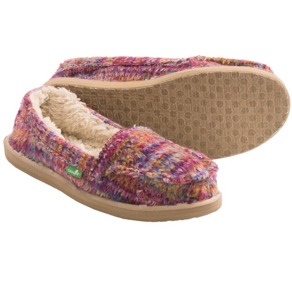 CLOSEOUTS . When you sink your feet into this cozy pair of Sanuk shoes, itand#39;s easy to see why theyand#39;re named Meltaway. Featuring plush faux-fur lining and a supersoft, high-rebound EVA footbed, your tired feetand#39;s worries fade into the distance. Available Colors: BLACK MULTI, CERISE MULTI, OCEAN MULTI. Sizes: 5, 6, 7, 8, 9, 10, 11.