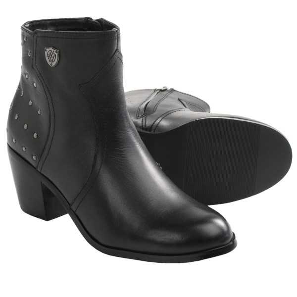 CLOSEOUTS . Designed for chic apres-riding wear, Harley-Davidsonand#39;s Angela motorcycle boots rev up a classic ankle boot design with a studded heel panel. Available Colors: BLACK. Sizes: 6.5, 7, 7.5, 8, 8.5, 9, 9.5, 10, 10.5, 11.