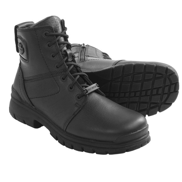 CLOSEOUTS . Fuel your Harley habit with a pair of full-grain leather Harley-Davidson Gage Hiker motorcycle boots, featuring a lace-up front and an inside zip for easy on-off. Available Colors: BLACK. Sizes: 8, 8.5, 9, 9.5, 10, 10.5, 11, 11.5, 12, 13.