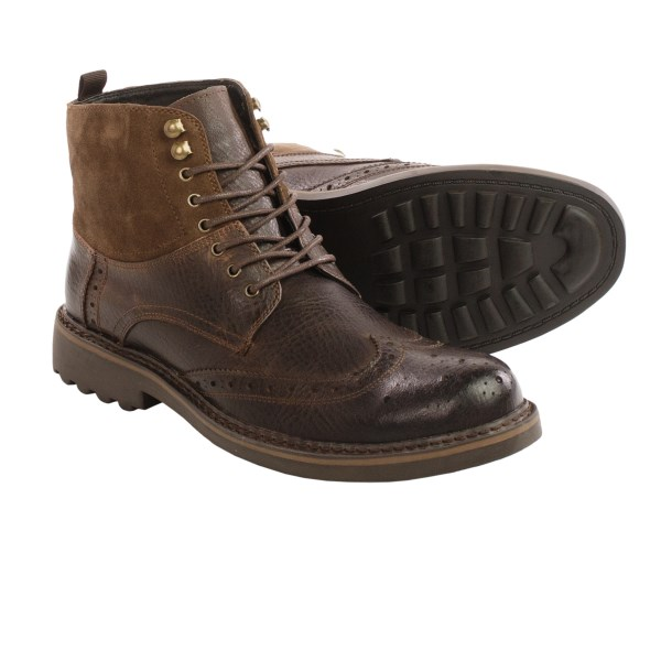 CLOSEOUTS . Exemplifying rugged 21st century style, Robert Wayne boots are an ankle boot with wingtip details and an upper that combines rich leather and soft suede. Available Colors: BROWN. Sizes: 8, 8.5, 9, 9.5, 10, 10.5, 11, 11.5, 12, 13.