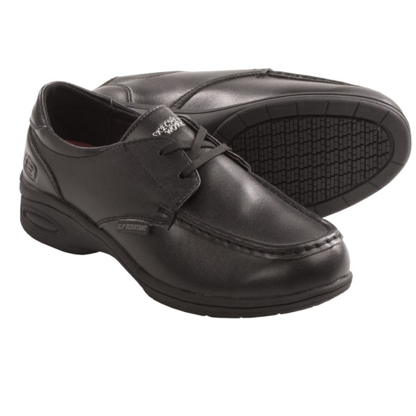 CLOSEOUTS . Chefs, nurses and women who spend long hours on their feet: Skechersand#39; Kobbler work shoes are here to make all your weary-footed dreams come true. This superlight, highly cushioned essential is infused with memory foam, slip-resistant rubber and rated to Electrical Hazard safety standards. Plus, the sleek leather upper is equally at home from slacks to scrubs! Available Colors: BLACK. Sizes: 6, 6.5, 7, 7.5, 8, 8.5, 9, 10.