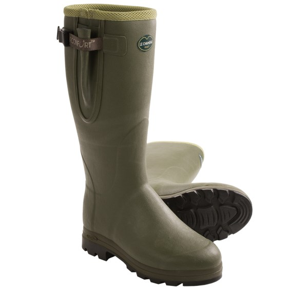 CLOSEOUTS . Synonymous with country life, Le Chameauand#39;s Vierzon rubber boots are superbly designed for a lifetime of mucking around. Made to the highest standards by master boot makers, theyand#39;re completely waterproof, comfortably cushioned and fitted with lugs that hold their ground in the sloppiest terrain imaginable. Available Colors: OLIVE. Sizes: 9, 12, 13, 13.5, 14, 15.