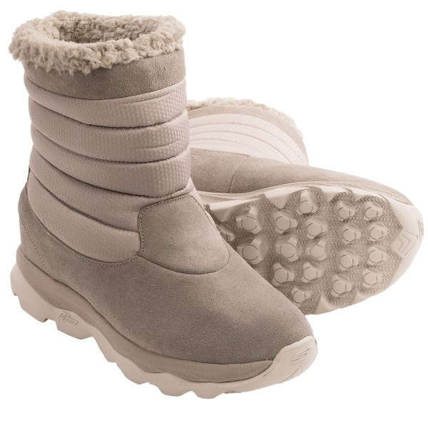 CLOSEOUTS . Snowy, slushy days are exactly when Skechersand#39; GOrun Ultra Bounce boots are designed to shine! A HydroGuardand#174; waterproof breathable bootie, fully sealed seams and waterproof suede ensure dry, cozy feet, and the rugged traction outsole keeps you steady on icy ground. Available Colors: BLACK, CHOCOLATE, NATURAL. Sizes: 5.5, 6, 6.5, 7, 7.5, 8, 8.5, 9, 9.5, 10, 11.