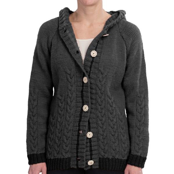 Icelandic Design Newari Shikara Cable Hooded Sweater - Wool, Button Front (For Women)