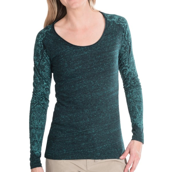 CLOSEOUTS . Henna-inspired designs tumble down each arm of White Sierraand#39;s Indian Brook shirt, an instant casual favorite in jersey-soft fabric. Available Colors: CHARCOAL, JEWEL GREEN, ROSEBUD. Sizes: XS, S, M, L, XL.