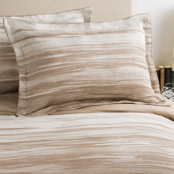 CLOSEOUTS . Like soothing watercolors, Christyand#39;s Painted Stripe King shams adorn your bed in soft mocha brush strokes on a creamy white canvas of 200 TC cotton. With rich velvet piping adding a subtly lavish appeal. Set of two. Available Colors: MOCHA. Sizes: KING.