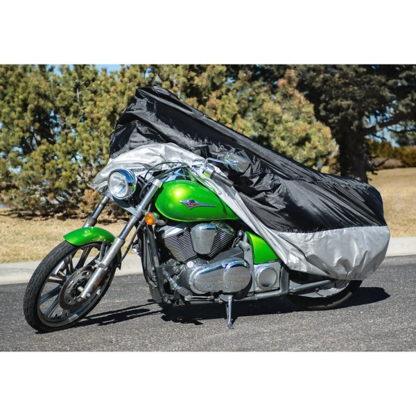 CLOSEOUTS . Keep your valuable ride protected from the elements with the Raider Motorcycle cover. Itand#39;s made of heavy-duty, UV-resistant fabric that provides complete coverage and a snug fit. Available Colors: SEE PHOTO.