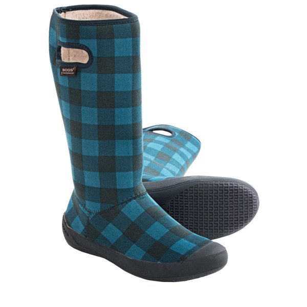 CLOSEOUTS . Unbeatable comfort and waterproof protection meet in Bogs Footwear Summit Buffalo Plaid boots. The nylon jersey upper is fleece-lined and foldable, and the boot is machine washable. Available Colors: CRANBERRY, GRAPE, BLACK/GREY, PETROL BLUE. Sizes: 6, 7, 8, 9, 10, 11, 12.