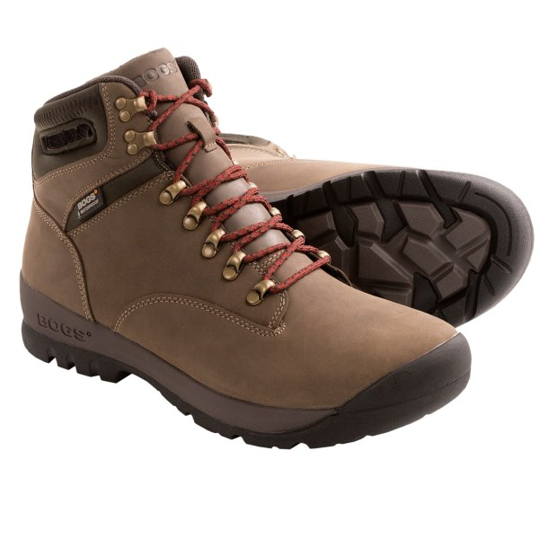 CLOSEOUTS . Hit the trail with the Bogs Footwear Tumalo boot and the elements wonand#39;t slow you down. The durable, waterproof leather stands up to your backcountry excursions, the wicking mesh lining helps keep feet dry and comfortable, and the non-slip outsole takes on tough terrain. Available Colors: CHESTNUT. Sizes: 7.5, 8.5, 9, 9.5, 10.5, 11.5, 12.