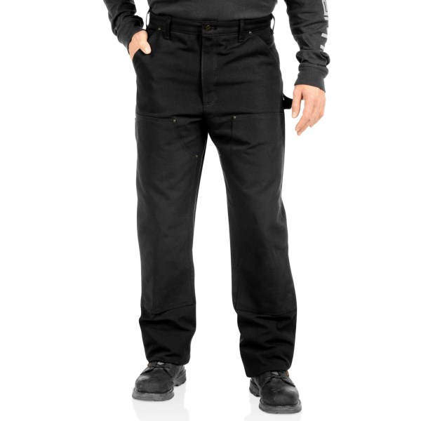 CLOSEOUTS . Carharttand#39;s IFD dungarees are built to take whatever your demanding job site can dish out. Heavy-duty 12 oz. cotton features a traditional five-pocket design with the addition of two drop-in pockets. Reinforced front panels deliver increased protection and make sure these dungarees can work as hard as you do. Available Colors: BLACK.