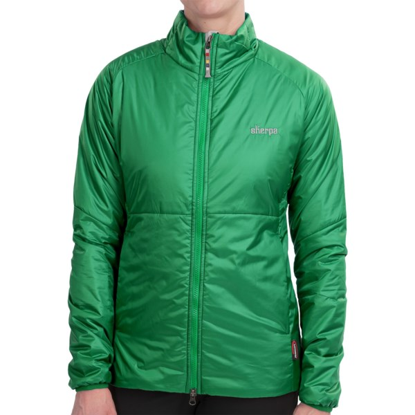 CLOSEOUTS . Made in Nepal of wind- and water-resistant ripstop fabric, Sherpa Adventure Gearand#39;s Vajra jacket is packed with 60g PrimaLoft ONEand#174; insulation for the ultimate in low-bulk, compressible warmth. Available Colors: BINDI, NEELAM GREEN. Sizes: XS, S, M, L, XL.