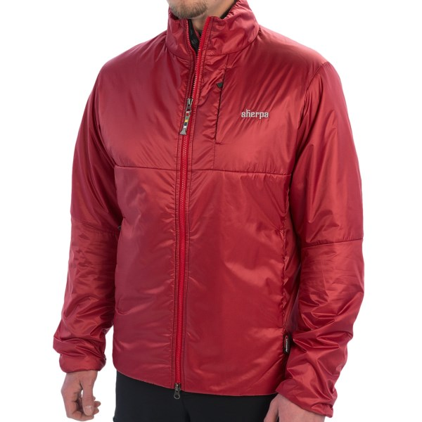 CLOSEOUTS . Made in Nepal of wind- and water-resistant ripstop fabric, Sherpa Adventure Gearand#39;s Vajra jacket is packed with 60g PrimaLoft ONEand#174; insulation for the ultimate in low-bulk, compressible warmth. Available Colors: LAMA RED. Sizes: S, M, L, XL, 2XL.