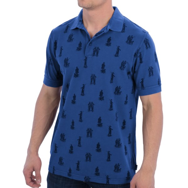 CLOSEOUTS . Barbourand#39;s Game Hunt polo shirt features classic polo style that appeals to the outdoorsman with an old-timey hunter illustration print on the breathable cotton pique fabric. Available Colors: RIVER BLUE, MERLOT, CHALK. Sizes: L.