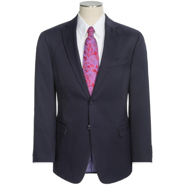 CLOSEOUTS . You wonand#39;t be disappointed by Palm Beachand#39;s Jim suit, a reliable classic with just a touch of Lycraand#174; -- a small addition that makes all the difference in terms of fit and lasting shape retention. Available Colors: BLACK, NAVY. Sizes: 38, 40, 42, 44, 46.