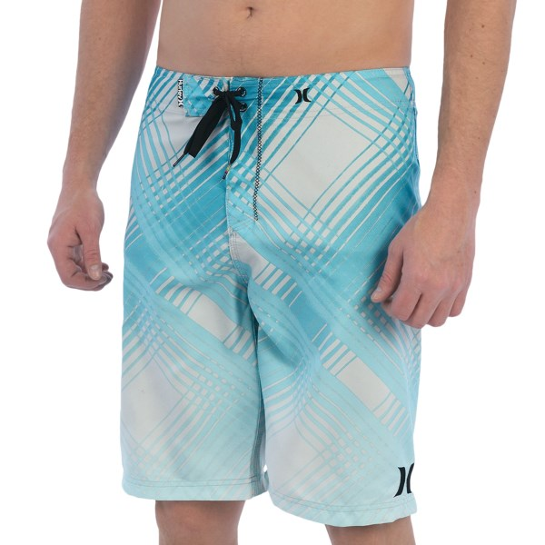 CLOSEOUTS . Hurleyand#39;s Ray boardshorts are ready for the water thanks to the durable, quick-drying recycled polyester construction, handy zip cargo pocket, and lace-up waist. Available Colors: GREY MIST, TEAL.