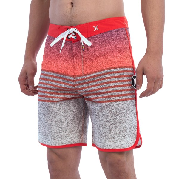CLOSEOUTS . Get ready to hang ten in style with Hurleyand#39;s Phantom Flight boardshorts. The quick-drying fabric stretches to deliver optimal range of motion, and the lace-up tabs deliver a comfortable fit during serious wave sessions. Available Colors: BLACK, FLASH LIME, BLUE LAGOON, DARING RED.