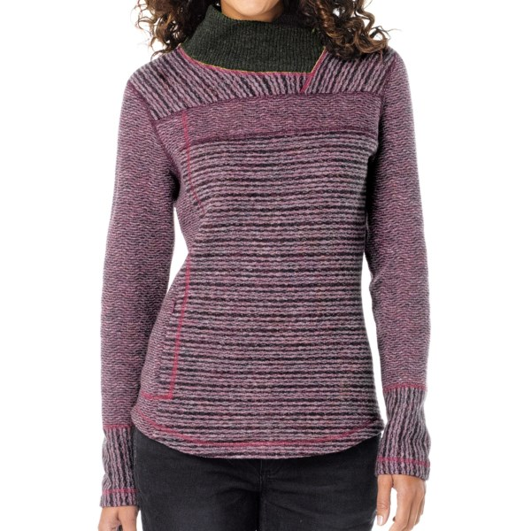 CLOSEOUTS . Itand#39;s the rich colors, cozy texture and agreeably oblique lines that give prAnaand#39;s Eleanor sweater its personality and character. A perfect marriage of relaxed and shapely, this pullover is also warm and washable. Available Colors: DUSTY TEAL, PLUM RED. Sizes: XS, S, M, L, XL.