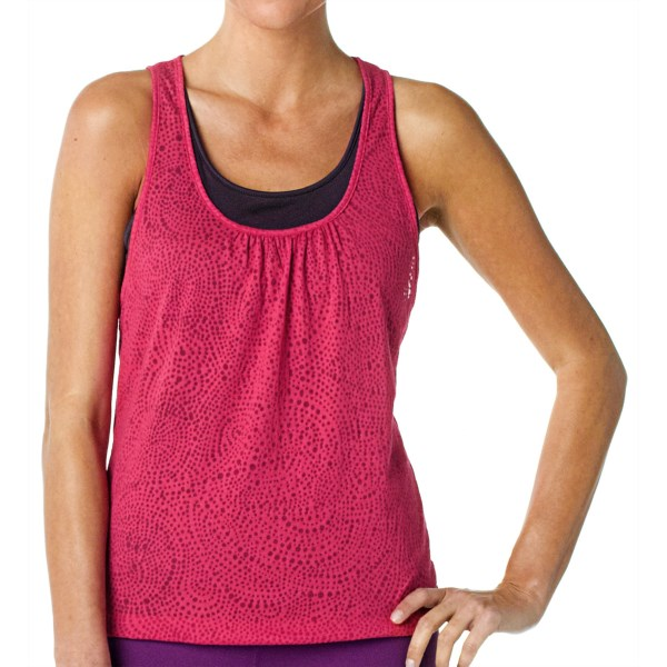 CLOSEOUTS . A beautiful burnout, the prAna Mikayla tank top features a pretty, two-layer design with a swirly-dot burnout exterior tank top and built-in solid tank beneath. Available Colors: DRAGONFLY, PINKBERRY, WILD LIME. Sizes: XS, S, M, L, XL.