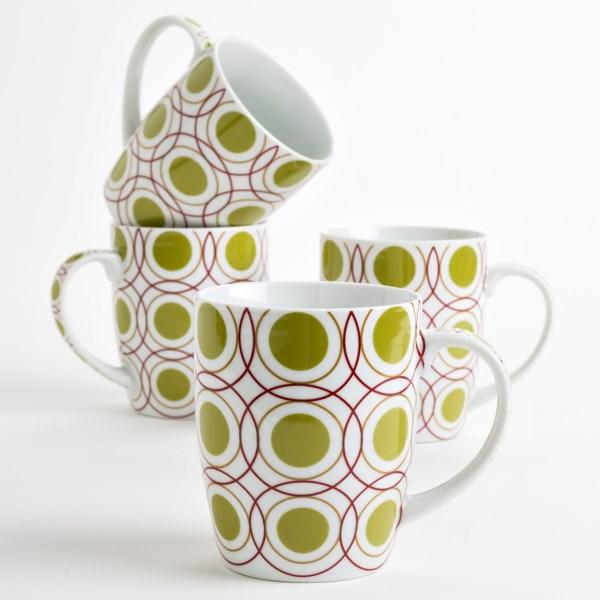 R2 Zrike Brands Printed Coffee/tea Mugs - Porcelain, Set Of 4