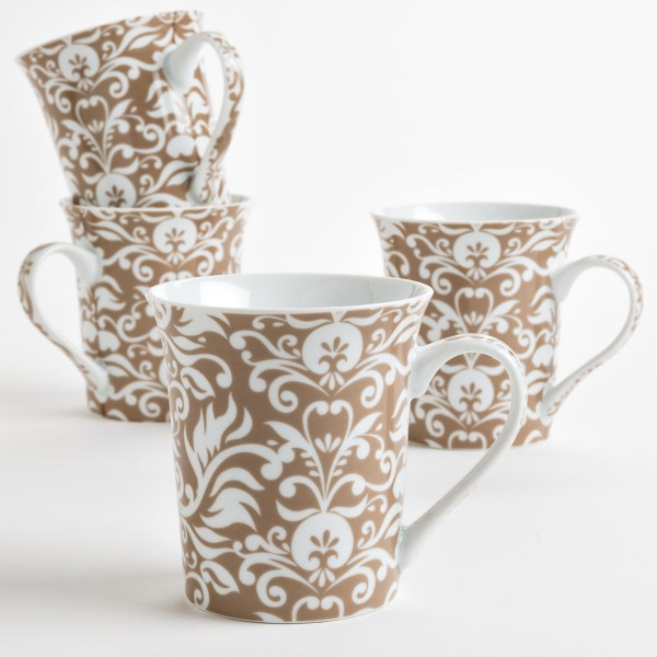 R2 Zrike Brands Damask Coffee/tea Mugs - Porcelain, Set Of 4