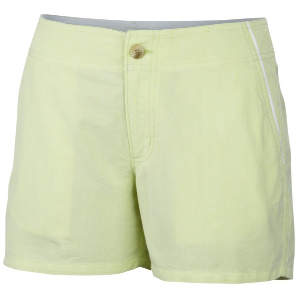 CLOSEOUTS . Columbia Sportswearand#39;s Solar Fade shorts are an instant summer favorite, fashioned with a silkily brushed cotton weave and a clean, crisp finish that lends a tailored appeal. UPF 30 sun protection and a four-inch inseam bridge the gap between sassy style and sensible functionality. Available Colors: BLUE MACAW/OXFORD, BLOSSOM PINK/OXFORD, TANGO PINK/OXFORD, TIPPET/OXFORD, HOT CORAL/OXFORD. Sizes: 2, 4, 6, 8, 10, 12, 14, 16.