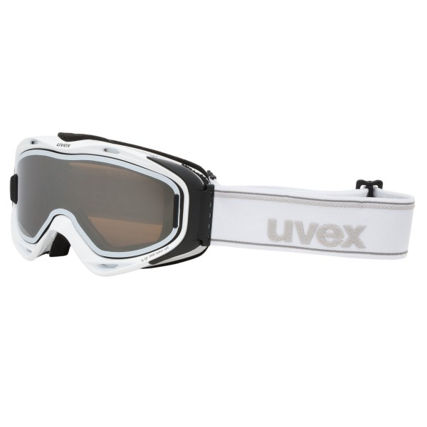 CLOSEOUTS . Uvex g.gl snowsport goggles feature an innovative lens system with a dark outer lens that attaches with two miniature magnets. Keep it on in bright conditions or remove it quickly the moment you hit the trees. Available Colors: WHITE/LIGHT MIRROR SILVER, BLACK MATTE/LIGHT MIRROR SILVER.