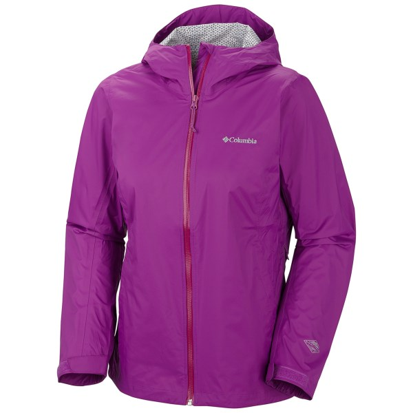 CLOSEOUTS . Made from rich woven nylon with an Omni-Techand#174; waterproof breathable membrane, Columbia Sportswearand#39;s EvaPOURation jacket helps you navigate your environment during adverse weather conditions. Available Colors: RAZZLE. Sizes: XS, S, M, L, XL.