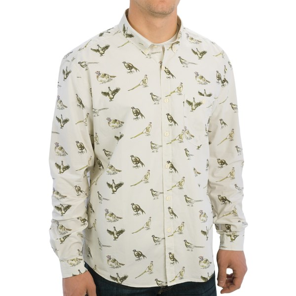 CLOSEOUTS . Featuring an allover game bird illustration print, Barbourand#39;s Gamefowl shirt is a button-down tribute to the sportsmen the brand has been outfitting for over a century. Available Colors: INDIGO, LIGHT STONE. Sizes: L.