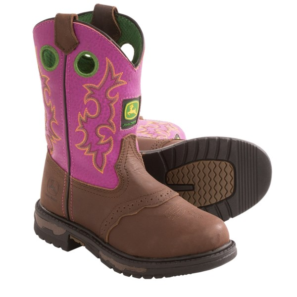 CLOSEOUTS . Keep your kiddoand#39;s feet in his favorite boots longer! John Deere Footwearand#39;s Johnny Poppers Cowboy boots have the Growing Like a Weed removable footbed system to increase the boot size by one full size for growing youngsters. Available Colors: BROWN SADDLE, FUCHSIA/BROWN. Sizes: 1, 1.5, 2, 2.5, 3, 8.5, 9, 9.5, 10, 10.5, 11, 11.5, 12, 12.5, 13, 13.5.
