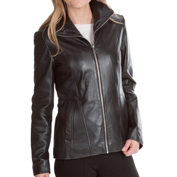 CLOSEOUTS . A beautiful excuse to indulge in a chic black leather jacket, Marc New Yorkand#39;s Skye jacket is made from an exquisite, glove-soft lamb leather with dramatic wing-style collar and perforated underarms for textural interest and enhanced breathability. Available Colors: BLACK, DUNE. Sizes: XS, S, M, L, XL.