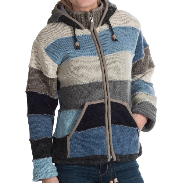 CLOSEOUTS . We just adore the patchwork-style stripes atop the rich, thick-knit wool of Laundromatand#39;s Varsity sweater, a seriously warm alternative to bulky jackets, complete with a buttery-soft fleece lining to seal in the warmth. Available Colors: BLUE, PINK. Sizes: S, M, L, XL.
