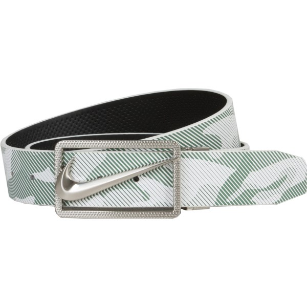 CLOSEOUTS . One side of this Nike Golf Camo Reversible belt displays a modern-looking camo print; the reverse takes on a perforated texture and solid hue. Both look equally striking when paired with the logo buckle. Available Colors: OLIVE/BLACK.