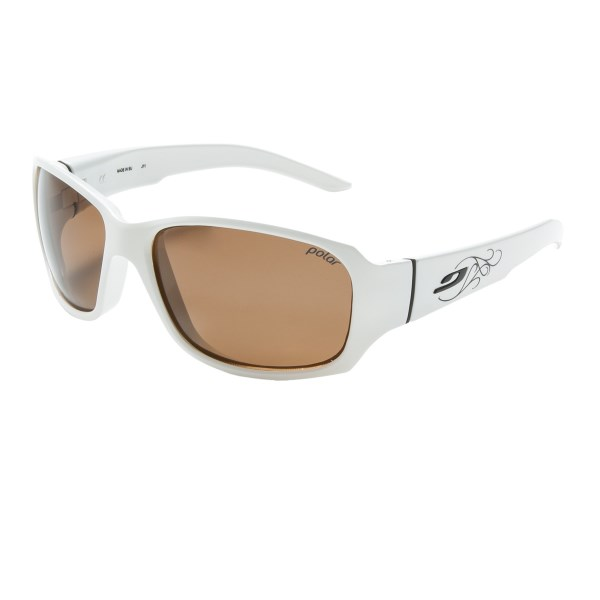 CLOSEOUTS . Julbo Alagna sunglasses boast the lightweight performance of glare-cutting polarized lenses and a women-specific shape that wonand#39;t get in the way of your eyelashes. Available Colors: WHITE/BLACK, BROWN/WHITE.
