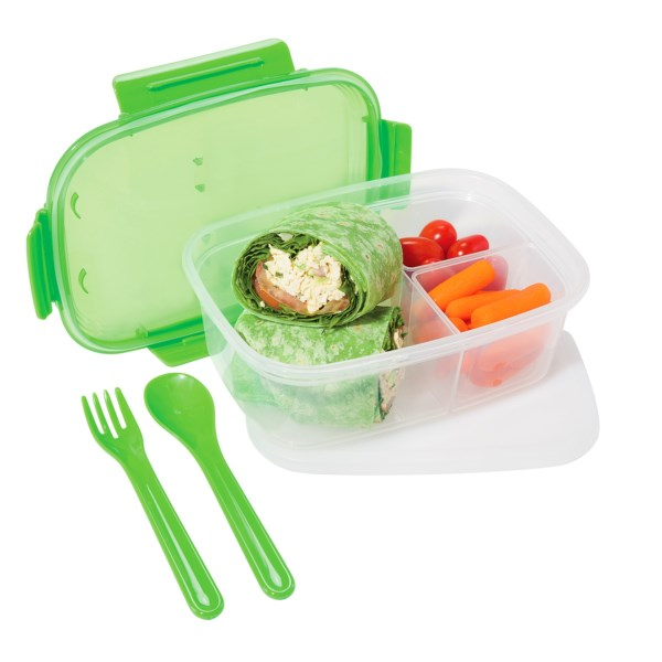 Overstock . OGGIand#39;s Chill-to-Go sectioned food container makes lunch time easy with a lidded three-section container that includes a fork, spoon and reusable freezer pack. Available Colors: BLUE, GREEN, PINK.