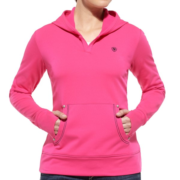 CLOSEOUTS . Whether youand#39;re working cattle or working the remote, Ariatand#39;s Tek fleece hoodie is the perfect companion. Warm, moisture-wicking performance fleece keeps you comfortable when laboring away and feels even cozier on the couch. Available Colors: CLOUDLESS PINK. Sizes: XS, S, M, L, XL.