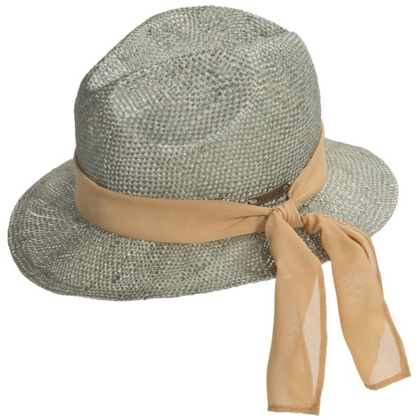 CLOSEOUTS . Many generations of fashionistas (both men and women) have embraced the fedora, and this Christyand#39;s London Crown Straw hat should appeal to your feminine side with a graceful scarf circumventing the hat band. Available Colors: SAGE. Sizes: O/S.