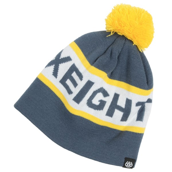 CLOSEOUTS . The bold banner logo and fluffy pompom topper of 686and#39;s Banner winter hat lends bright sledding-hill style to your little snow buddyand#39;s noggin. Plus, itand#39;s super warm and super stashable, too! Available Colors: BLACK, GUNMETAL, INDIGO. Sizes: O/S.