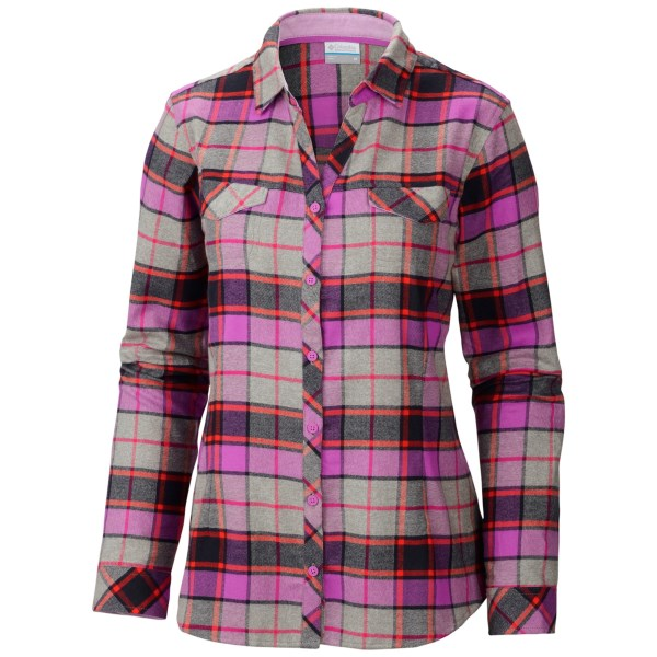 CLOSEOUTS . Supersoft cotton flannel never gets old, and with the vibrant colors of Columbia Sportswearand#39;s Simply Put II flannel shirt, itand#39;ll never go out of style, either. Available Colors: HARBOR BLUE/BIG CHECK, BLOSSOM PINK/BIG CHECK. Sizes: 1X, 2X, 3X.