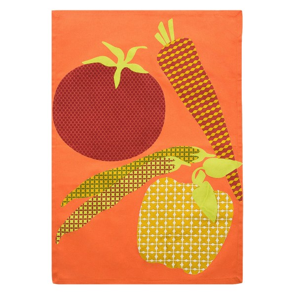 CLOSEOUTS . The colorful fabric and patterned patchwork of Tagand#39;s Patchwork dish towel add a lively touch to any kitchen. Available Colors: PUMPKIN, EGGPLANT, TOMATO.