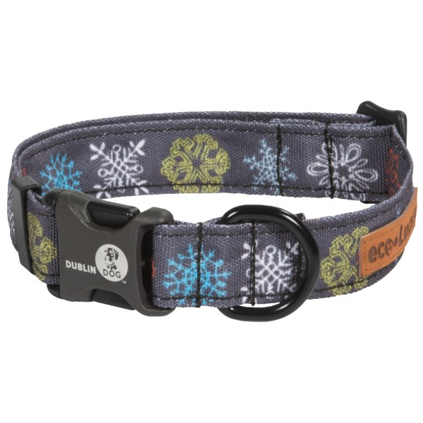 CLOSEOUTS . Dublin Dog Collarsand#39; Eco dog collar is made of 100% recycled EcoLucks fabric and features a waterproof D-ring, chemical-free ink and quick-release buckle. Available Colors: DOCKSIDE, FIREFLY, FEARLESS BLUE, FIGHTIN RED, FROSTBITE, PEPPERMINT TWIST, SURVIVOR SAGE, URBAN ICE, VARSITY. Sizes: L, M, S.