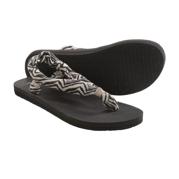 CLOSEOUTS . Your soles will reach a zen-like state in Sanukand#39;s Yoga Slingshot print sandals, featuring sling comfort construction and a footbed made of real yoga mats. Available Colors: ZEBRA. Sizes: 6, 7, 8, 9, 10, 11.