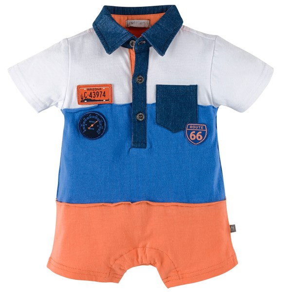 CLOSEOUTS . Adorned with car-themed patches, denim trim and a bold, color-block design, Petit Lemand#39;s Retro Road romper will be your go-to for sweet little racer man style. Available Colors: RETRO ROAD. Sizes: 3M, 6M, 9M, 12M.