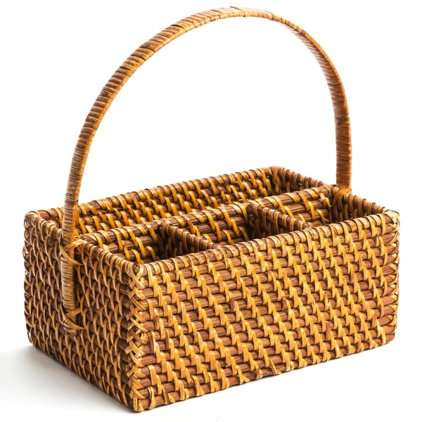 CLOSEOUTS . Organizers come in all shapes and sizes, but thereand#39;s a warmth and wonderfully natural feel to rattan baskets. Global Amiciand#39;s St. Lucia utility basket stows smaller items in four compartments. Available Colors: NATURAL.