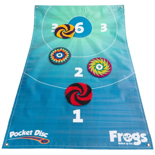 CLOSEOUTS . To play this all-ages PocketDiscand#39;s Frogs game kit, send the colorful cotton discs flying toward the game board and land them on a designated spot to receive points. Lightweight, durable design rolls up and stores easily; great for camping, yard parties and tailgating! Available Colors: SEE PHOTO.