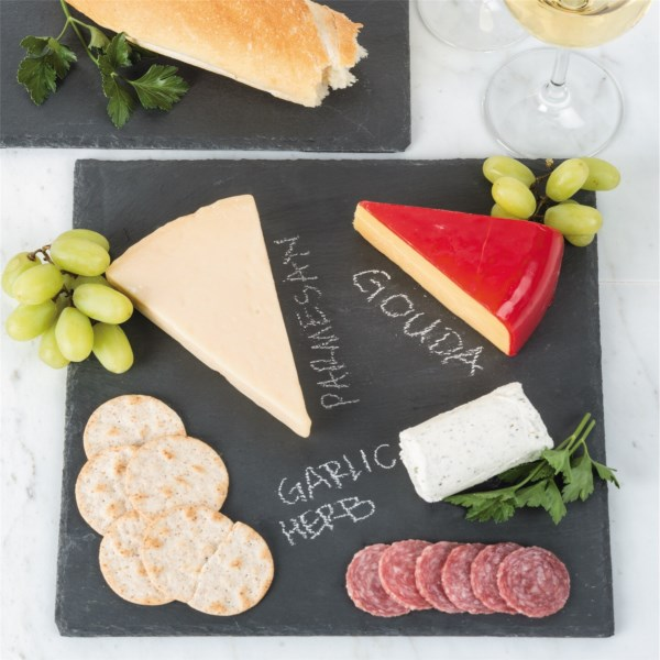 CLOSEOUTS . Food-safe and attractive, Creative Homeand#39;s slate board is a beautifully organic way to serve up appetizers. It also accepts chalk so you can label your gourmet cheeses for the guests. Available Colors: SLATE.