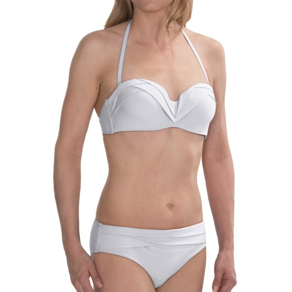 CLOSEOUTS . Dazzle at the beach, pool, sauna or photoshoot (you could totally be a model; just saying) in Natoriand#39;s Origami bikini set. The bandeau-style bust and bikini bottoms feature an eye-catching pleated trim for a unique and exotic touch, and the optional halter strap lets you mix it up a little. Available Colors: WHITE, DAHLIA PURPLE, PALAWAN BLUE. Sizes: XS, S, M, L.