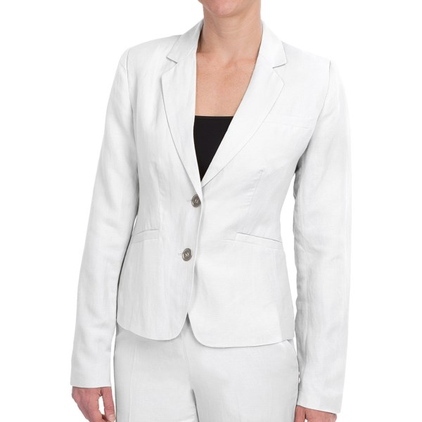 CLOSEOUTS . Enjoy the cool, summer-ready look of natural linen in this Premise Studio linen blend jacket. Beautifully fitted in a classic, single-breasted style, itand#39;s a versatile topper for any warm-weather ensemble. Available Colors: NAVY BLAZE, LINSEED, STUCCO WHITE. Sizes: 4, 6, 8, 10, 12, 14.