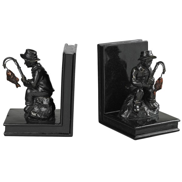CLOSEOUTS . Out of gift ideas for the fisherman in your life? The angler depicted in Sterlingand#39;s Fisherman bookends is seated on a rock and pondering the catch of the day. Made from composite, these bookends have the look of bronze and enough heft to hold up your books. Available Colors: BLACK.