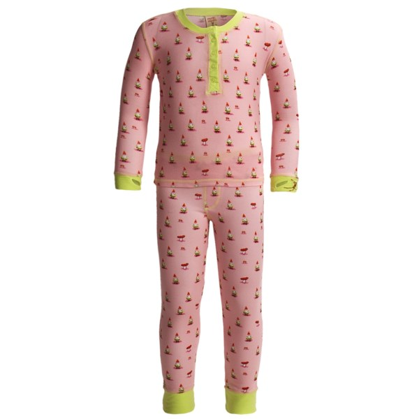 CLOSEOUTS . With a cute allover print, a supersoft feel and non-irritating, flatlock seam construction, Munki Munkiand#39;s Long John henley pajamas are a bedtime favorite. Available Colors: PINK GNOMES, TEENY OWLS, SUSHI DATE, GOLDFISH. Sizes: 2T, 4T, 6, 8.